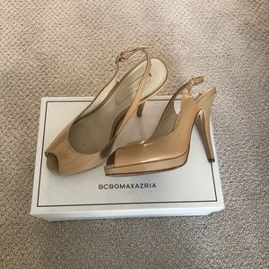BCBGmaxazria Nude Patent Leather Pumps Sling back